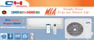 12000 BTU Inverter Ductless Mini Split Air Conditioner with Heat Pump | SEER 17.9 | 110V 60Hz